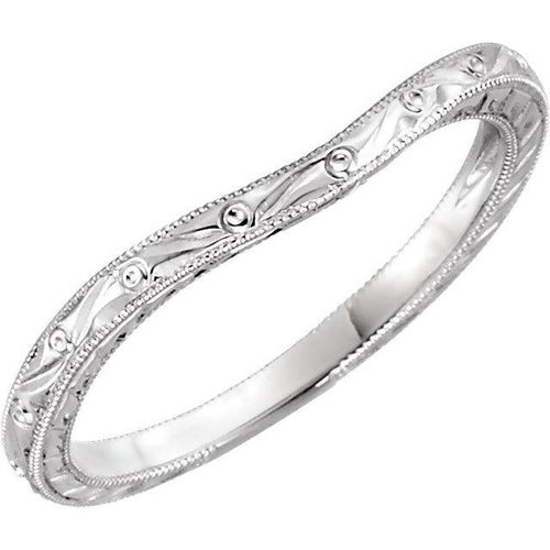 14K White Gold Design-Engraved Matching Band