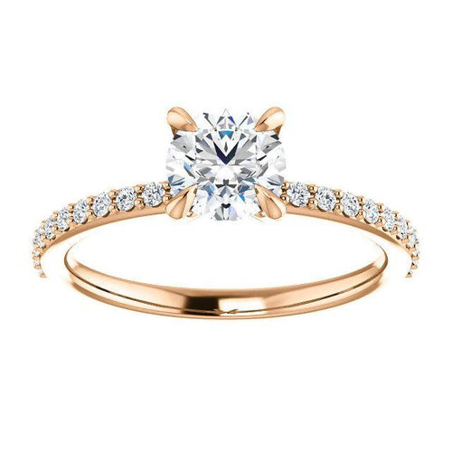14K Gold 6 mm Round 4 Prongs Solitaire Accented Engagement Ring