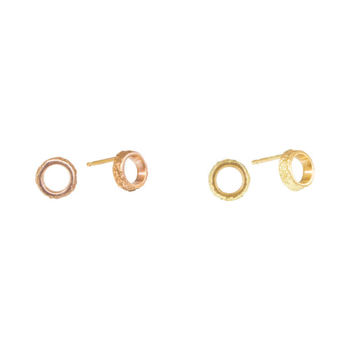 Small Open Circle Sand Post Earrings in 14k rose gold