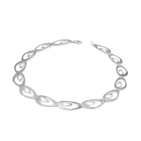 Silver Leaf Shape Chain Necklace