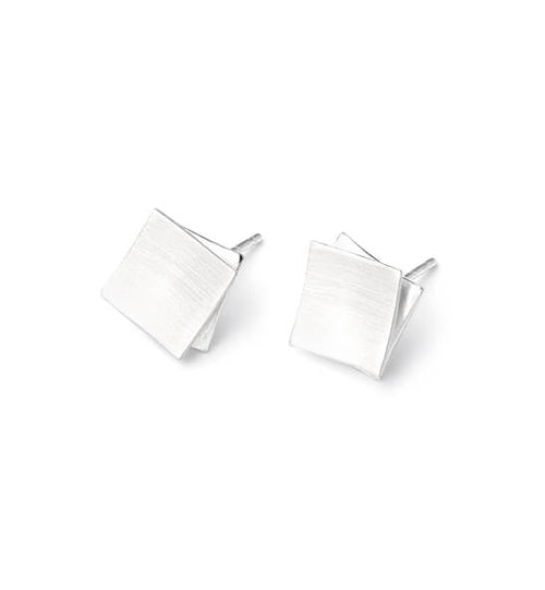 Modern Clean Line Post Earrings, SQUARE ON SQUARE, small