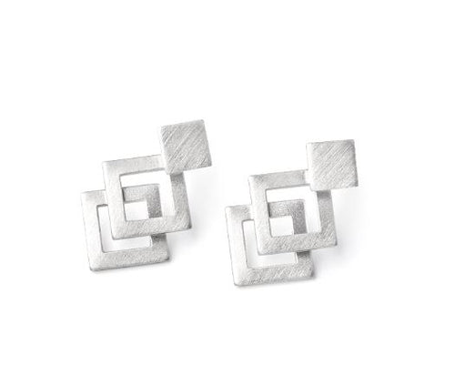 Diamond Squares Two-parts Earrings