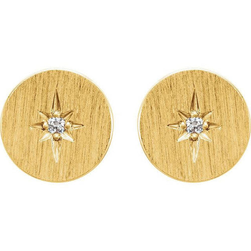 14k Gold Disc and Diamond Starburst Earrings