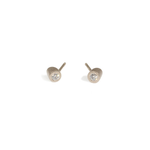 Angled Tube Post Earrings in 14k Palladium White Gold and White Diamonds