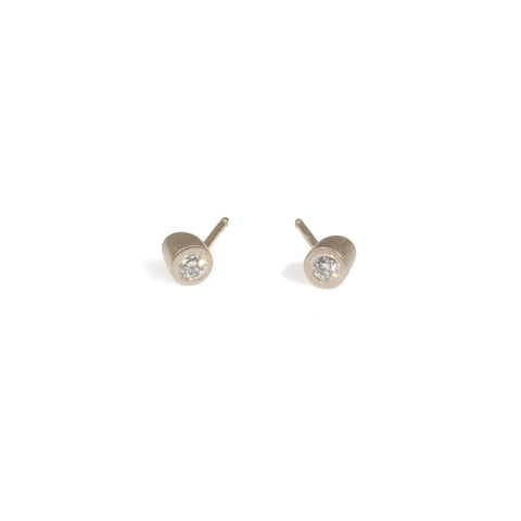 Angled Tube Post Earrings in 18k Yellow Gold