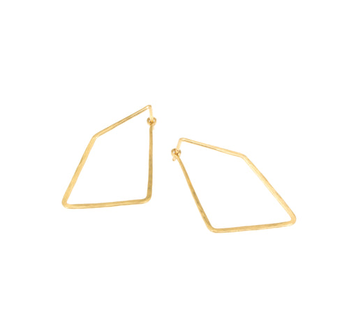Angle Tension Hoop Earrings in 18k yellow gold