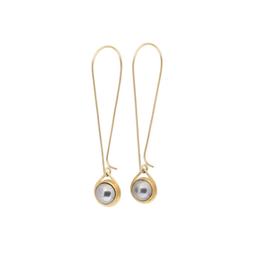 Steel Ball Bearing Drop Earrings in 18k Yellow Gold