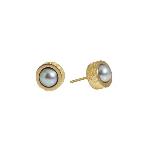 Grey or White Pearl Post Earrings with Sand Texture in 18k Yellow Gold