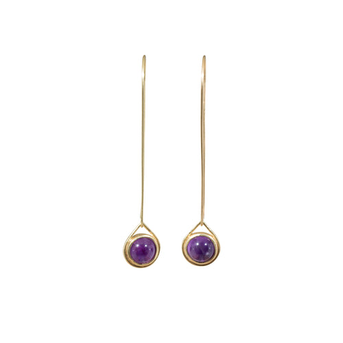 Amethyst Sphere Drop Earrings in 18k Yellow Gold