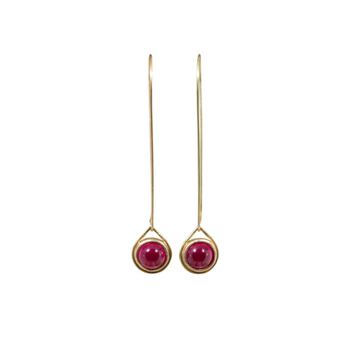Ruby Sphere Drop Earrings in 18k Yellow Gold