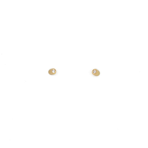 Angled Tube Post Earrings with White Diamonds in 18k Yellow Gold
