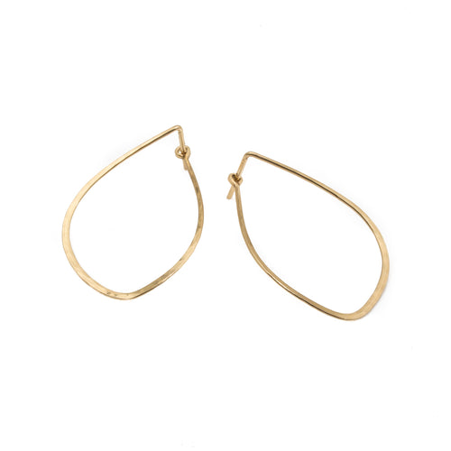 14k Yellow Gold Mussel Tension Hoop Earrings
