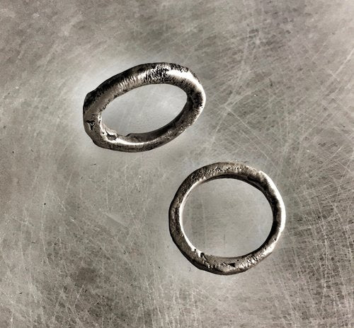 Sterling Silver Molten Wedding Bands
