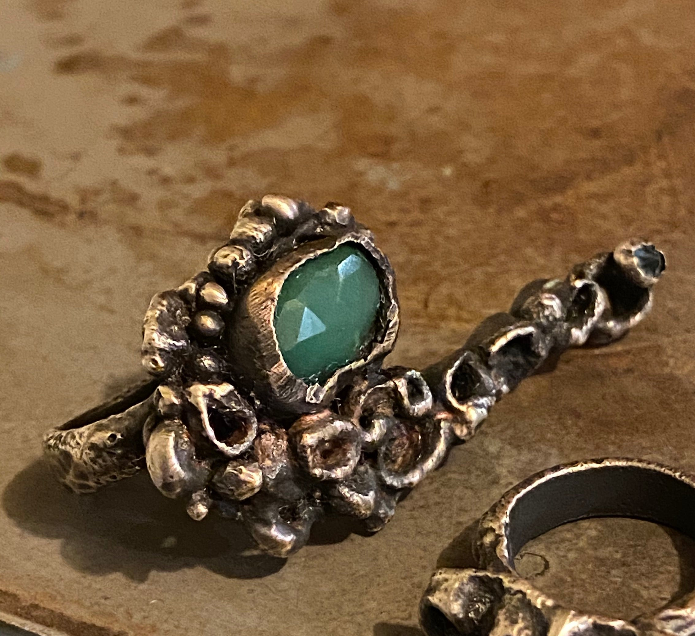 wasp nest with chrysoprase and blue topaz