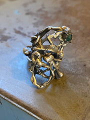 Molten Boone Ring with Emerald