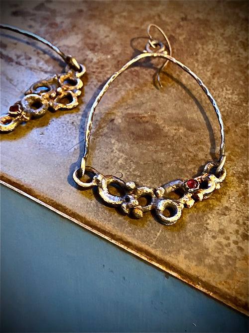wasp nest earrings with rubies