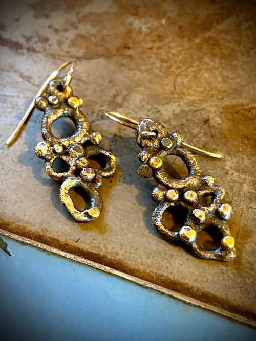 Wasp Nest Earrings with 18k gold