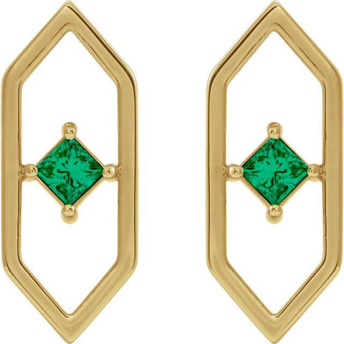 14K Gold 3mm Diamond or Emerald Geometric Earrings