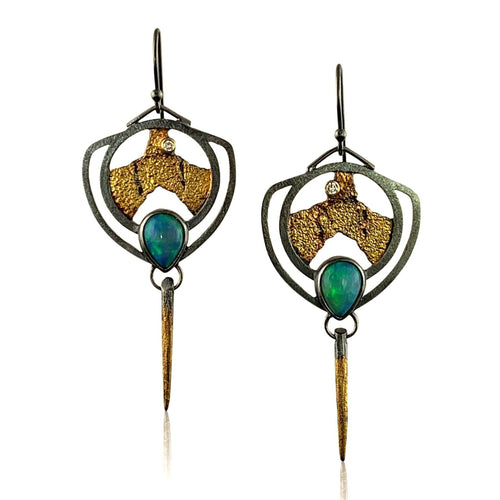 "1"" Terra Shield Earring - Opal"