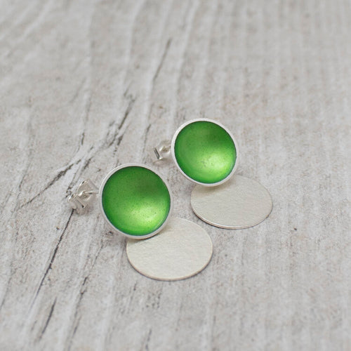 Halo Medium Enamel Studs with Textured Silver Drop Detail