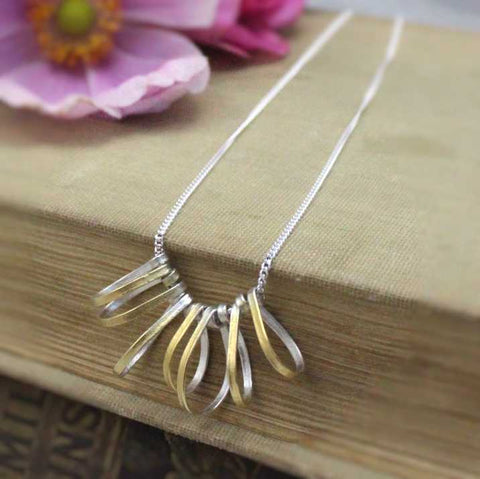 Nail Necklace with solid 14k gold links