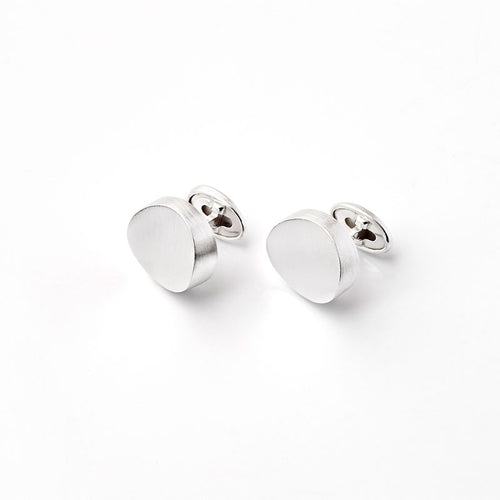 Modern Sterling Silver Disk Cuff Links by Kelim Jewelry