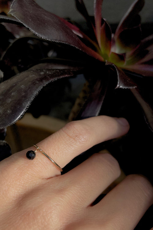 Black Spinel Gemstone Stacking Ring