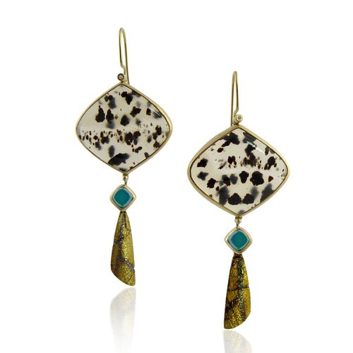 Montana Agate Gold Diamond Wing Drop Earrings