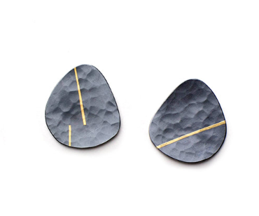 Oxidised Daisy Earrings in sterling silver and 18ct gold