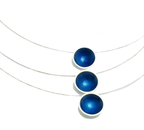 Triple  Disc Necklace, Kingfisher Enamel over sterling silver discs