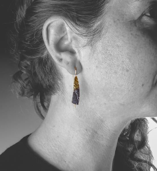 Ombre Blade Gold Earrings - Model