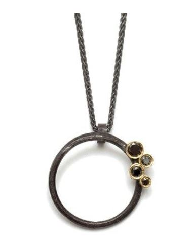 Oxidized Hoop Pendant with Black Diamonds set in 18k Gold
