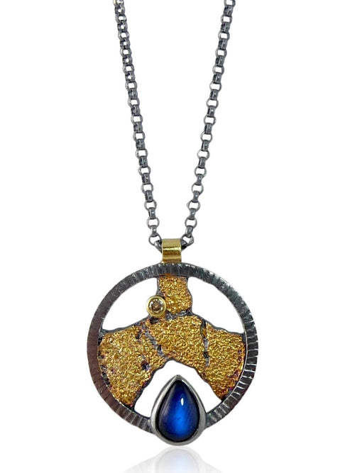 Blue Moonstone Terra Shield Pendant - Jenny Reeves - Lireille