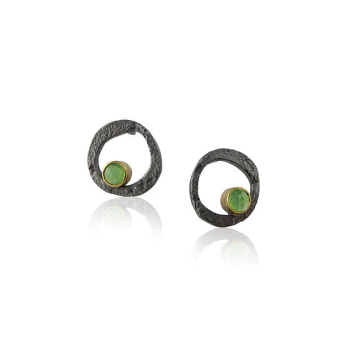 Circle Stud Chrysoprase Earrings - Jenny Reeves - Lireille