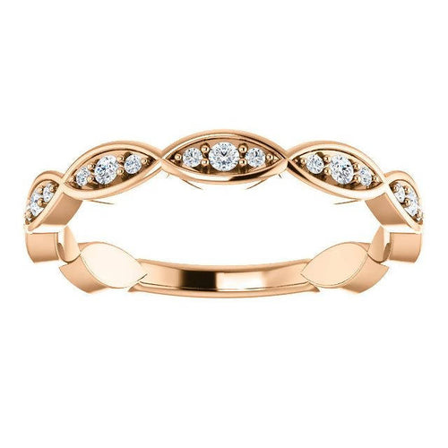 14K Rose Gold Environmentally-Friendly Moissanite Infinity-Inspired Anniversary Band