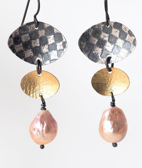 Checkerboard/Leaf Earrings