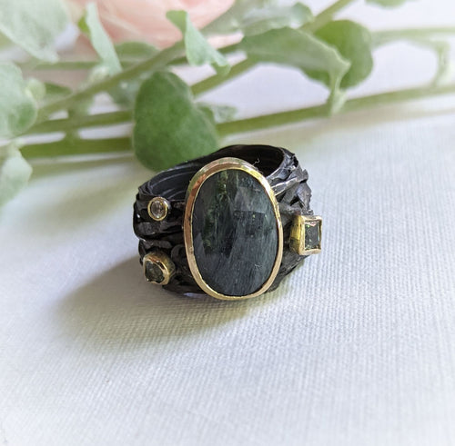 Oxidised Wrap Ring with Tourmaline, Australian Parti Sapphire and Diamond