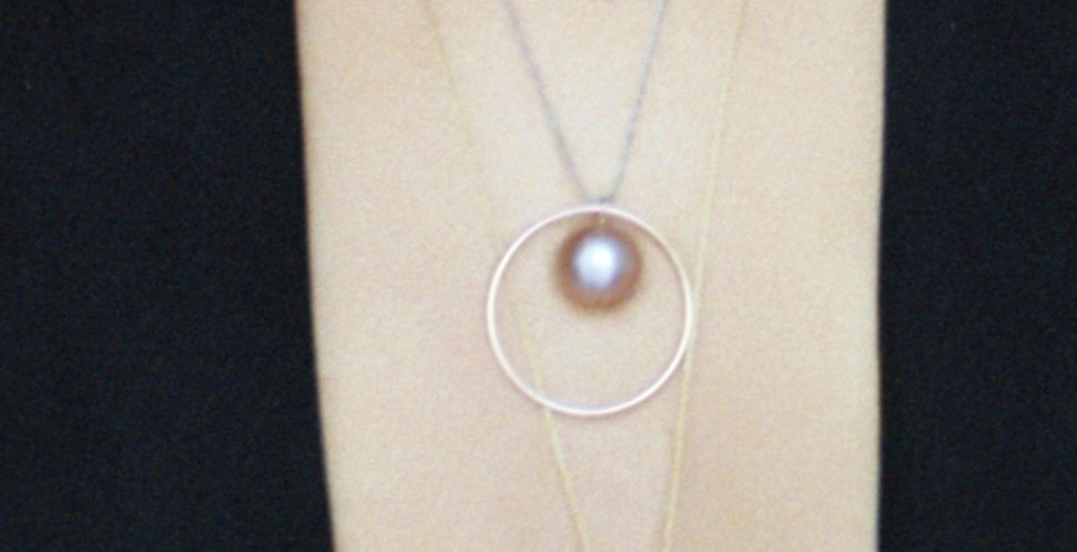 Medium Orbit Necklace with Baroque Pearl or Tahitian Pearl