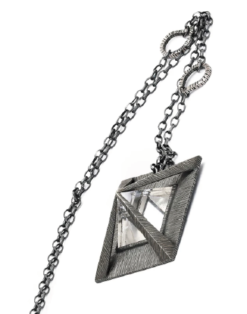Prisms Necklace in Textured Silver Frame