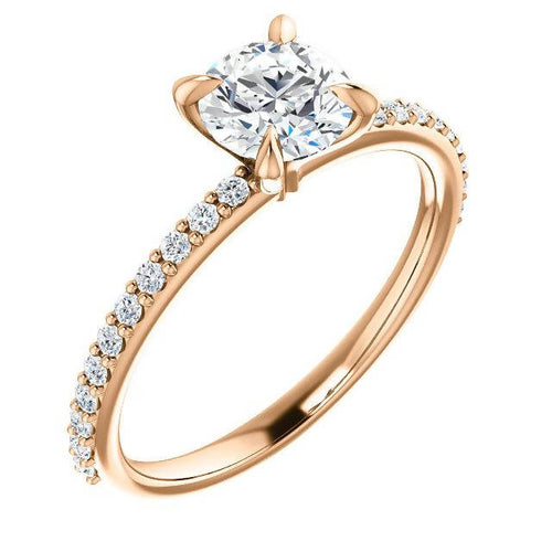 14K Rose 6 mm Round 4 Prongs Solitaire Accented Engagement Ring