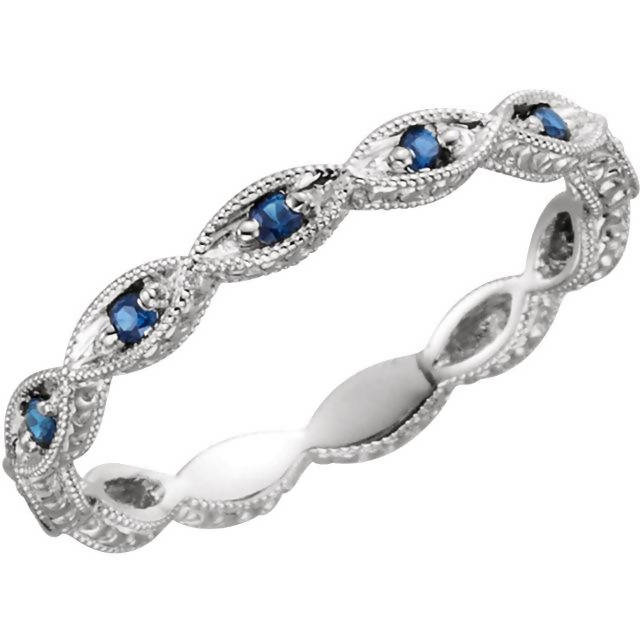 Vintage Inspired 14K White Gold Blue Sapphire Band