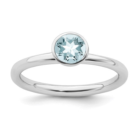 Sterling Silver Stackable Expressions High 5mm March Aquamarine Ring