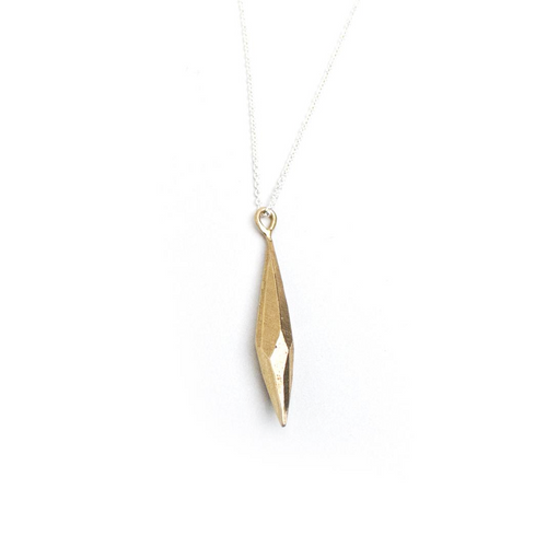 Raw Crystal Brass Pendant - Small with sterling silver chain