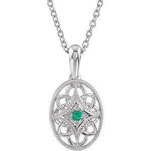 Vintage Inspired Sterling Silver .04 CTW Emerald 18'' Necklace