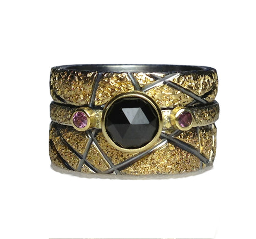 Gold and Silver Abstract Ring