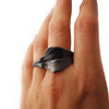 Two Fingers Leaf Ring in Argentinum Silver