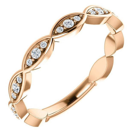 14K Rose Gold Diamond Infinity-Inspired Anniversary Band