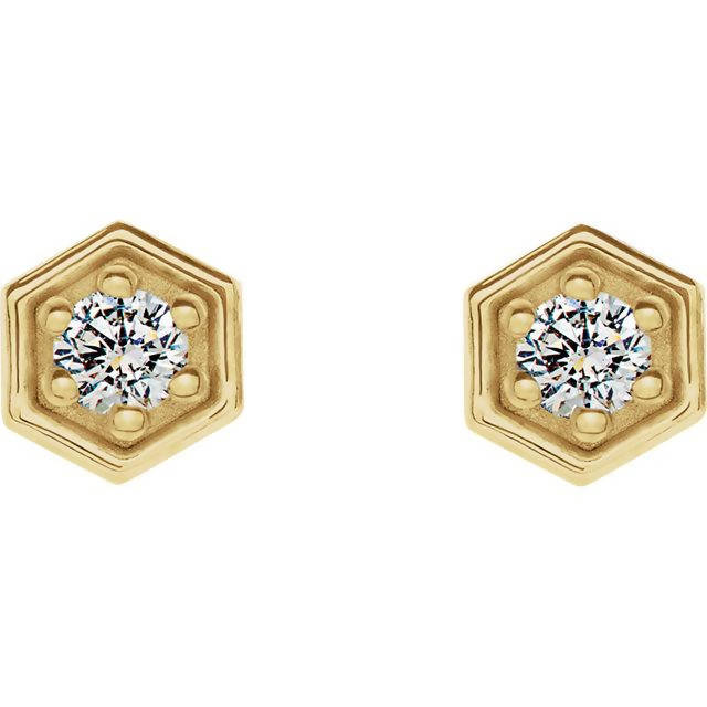 14k Gold Diamond Hexagon Stud Earrings