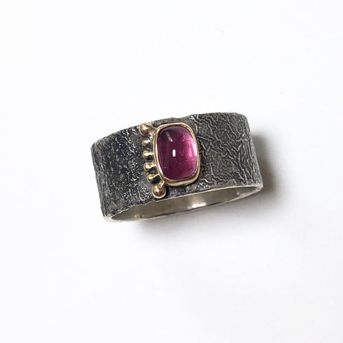 Reticulated Silver Ring, pink tourmaline set 18k gold bezel with gold accents,