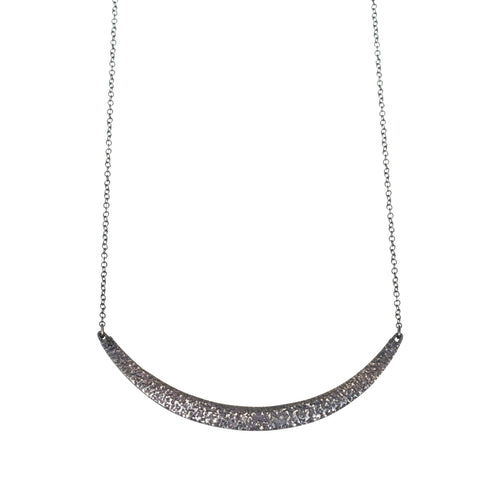 Compressed Sand Bar Necklace in Oxidized Silver